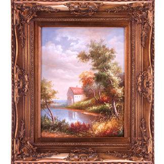 Картина маслом домик у озера 30х40см