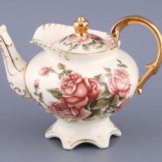 """Заварочный чайник  """"Букет роз"""" на ножке с  золотыми ручками"""