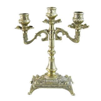 Канделябр на 3 свечи латунный